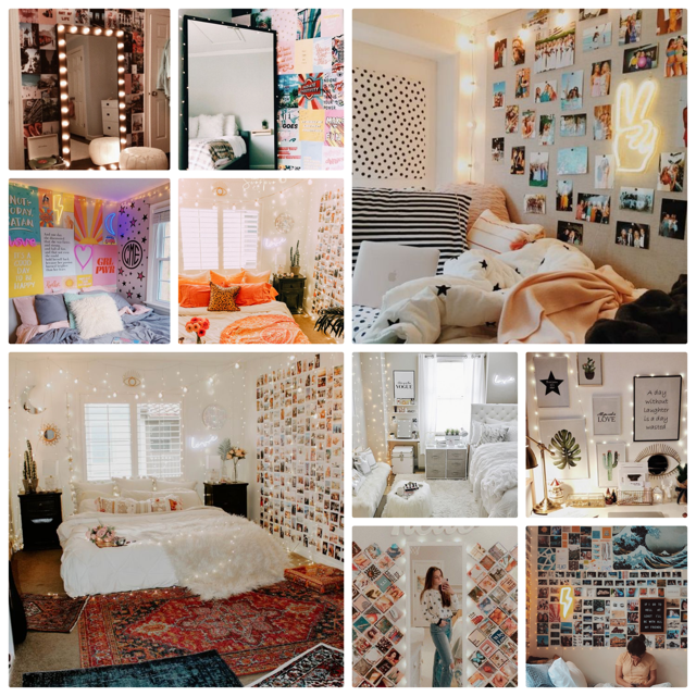 Inspiration collage for bedroom space. Images via Pinterest.