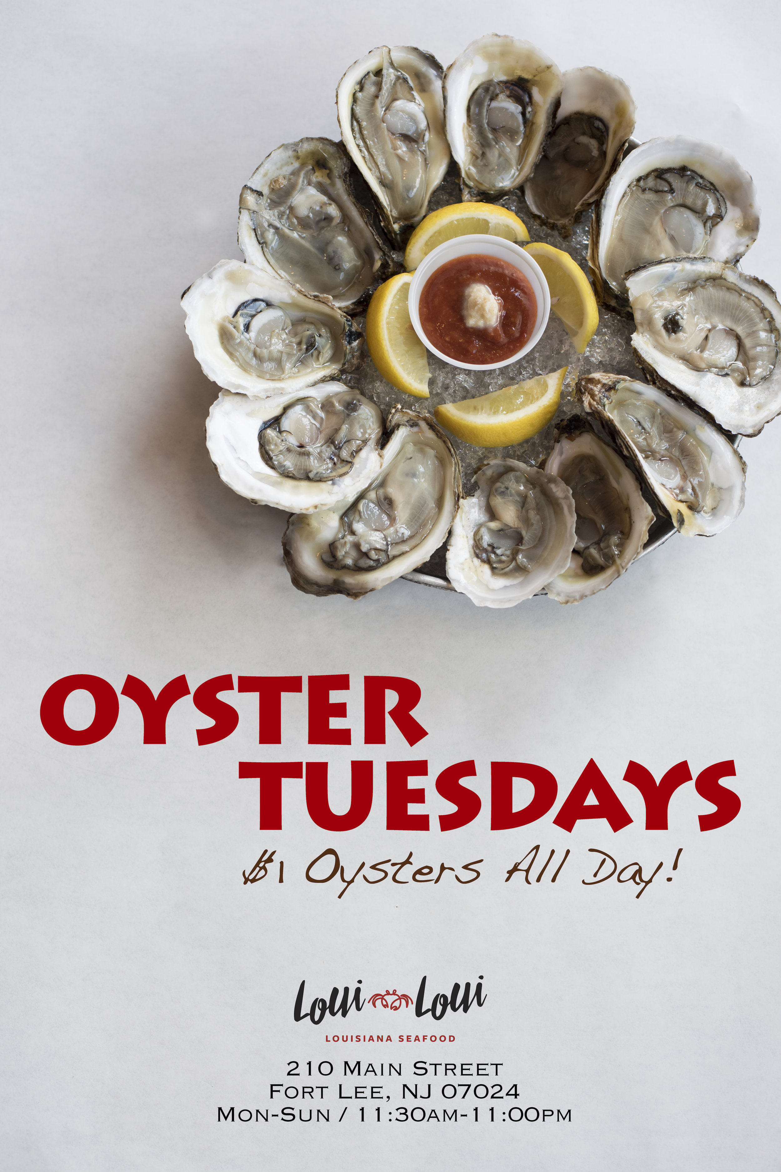 $1 Oysters All Day Tuesday -
