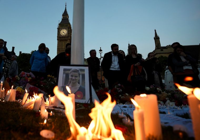 A memorial to Jo Cox held in Parliament Square