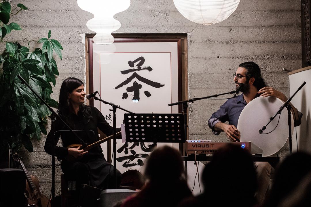 Saideh and Khatch perform at Far Leaves Tea House, Berkeley, California. December 2018