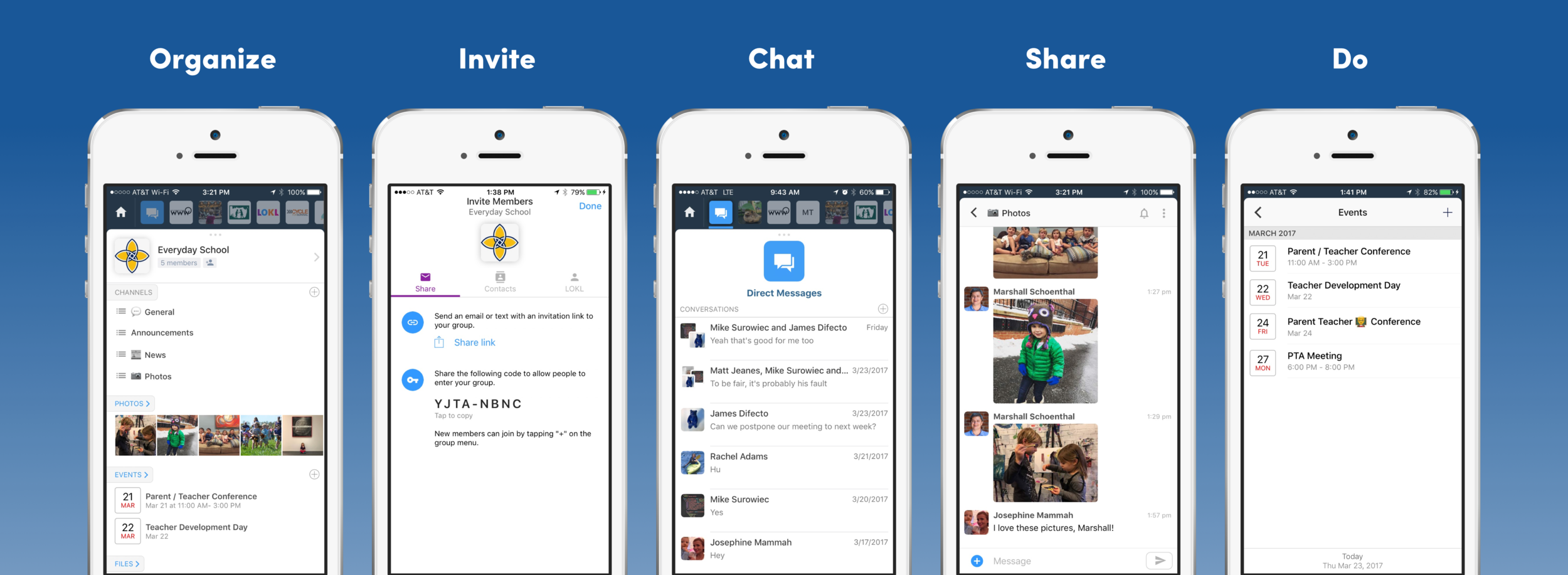 Use the Mazey app to organize, invite, chat, share and do things with your group. Channel-based chat, direct messages, a shared calendar, and shared notebooks let your group stay on the same page at all times.