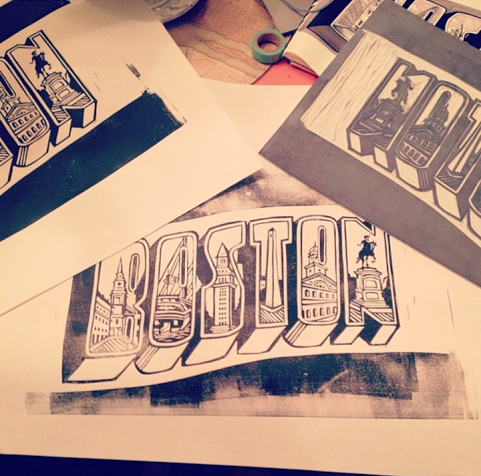 """""""Boston"""" Print for a wedding save-the-date"""