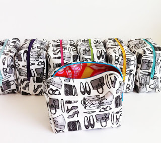 Makeup bags I made using my own repeat pattern designs printed on fabric using Spoonflower