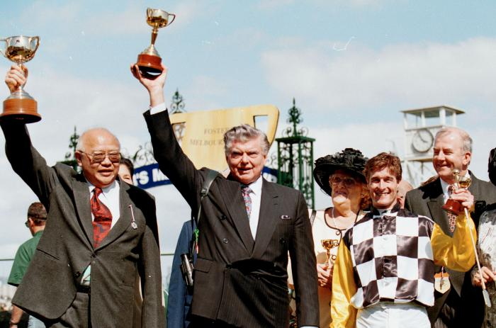 Celebrating Saintly's 1996 Melbourne Cup win with the late Bart Cummings AM & jockey Darren Beadman