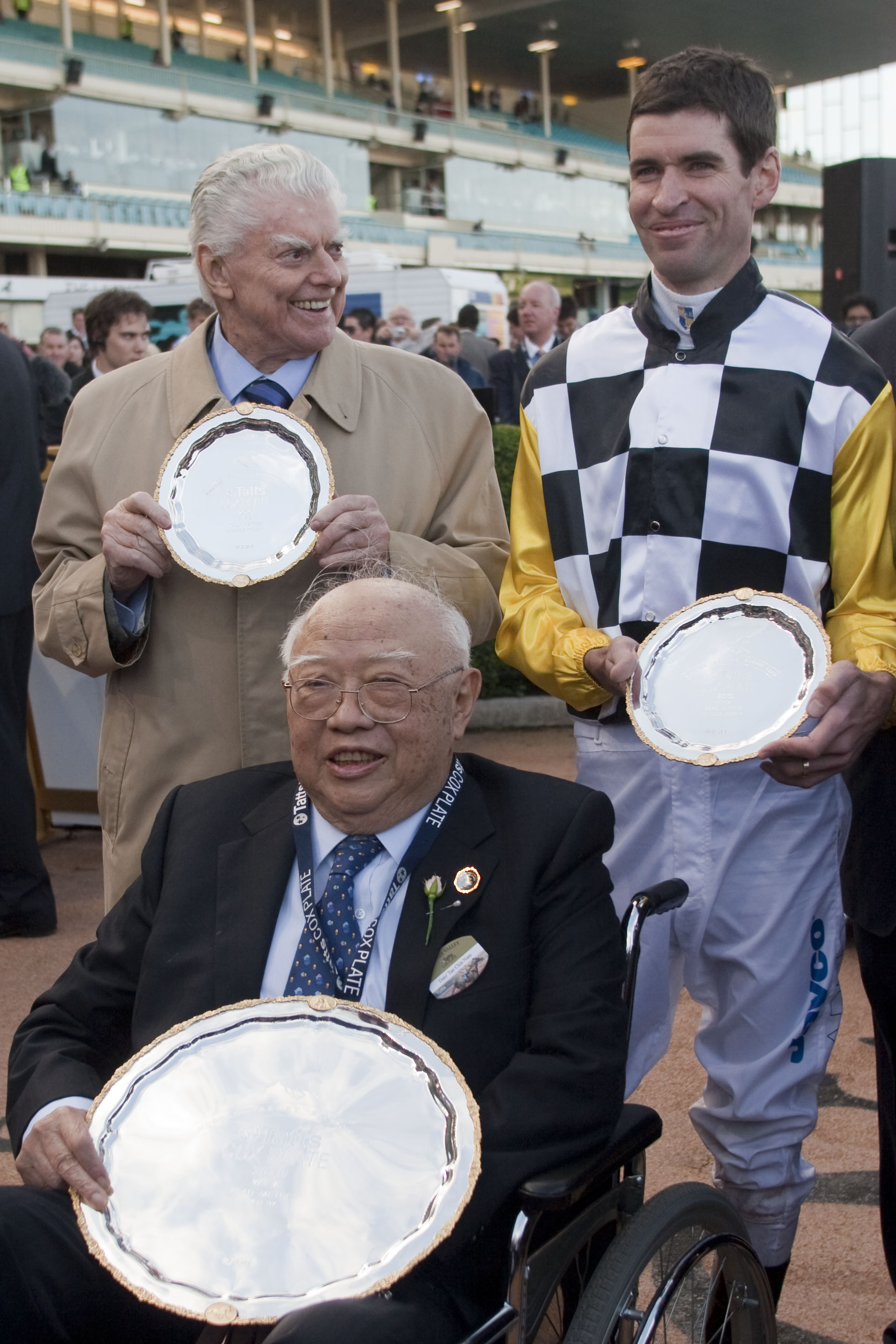 Dato Tan, the late Bart Cummings & jockey, Steven Arnold after So You Think's second Cox Plate victory in 2010.