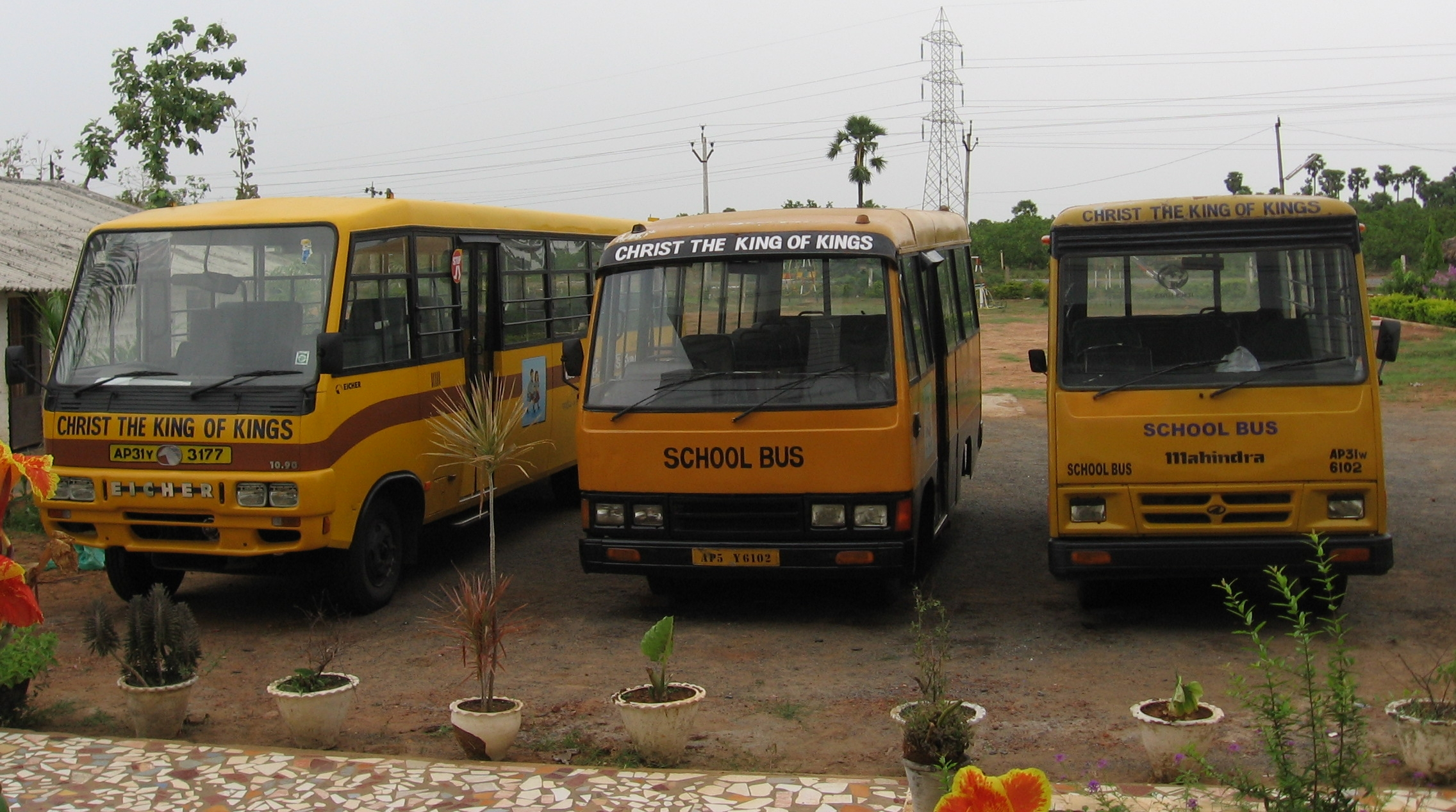 Our fleet of school buses in 2010 that go into surrounding villages to bring children to school 11 months a year