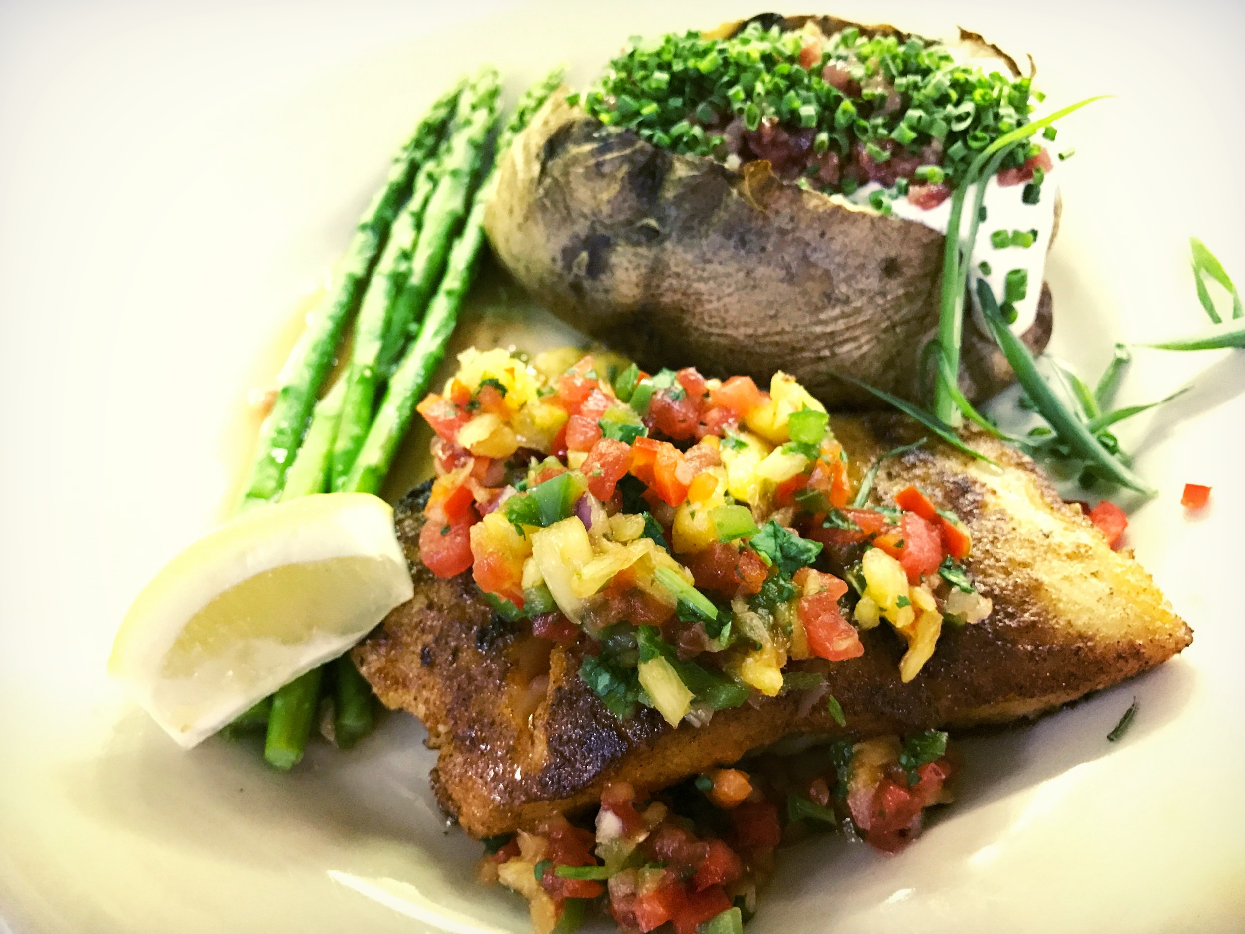 Bronzed Salmon with Fruit Salsa
