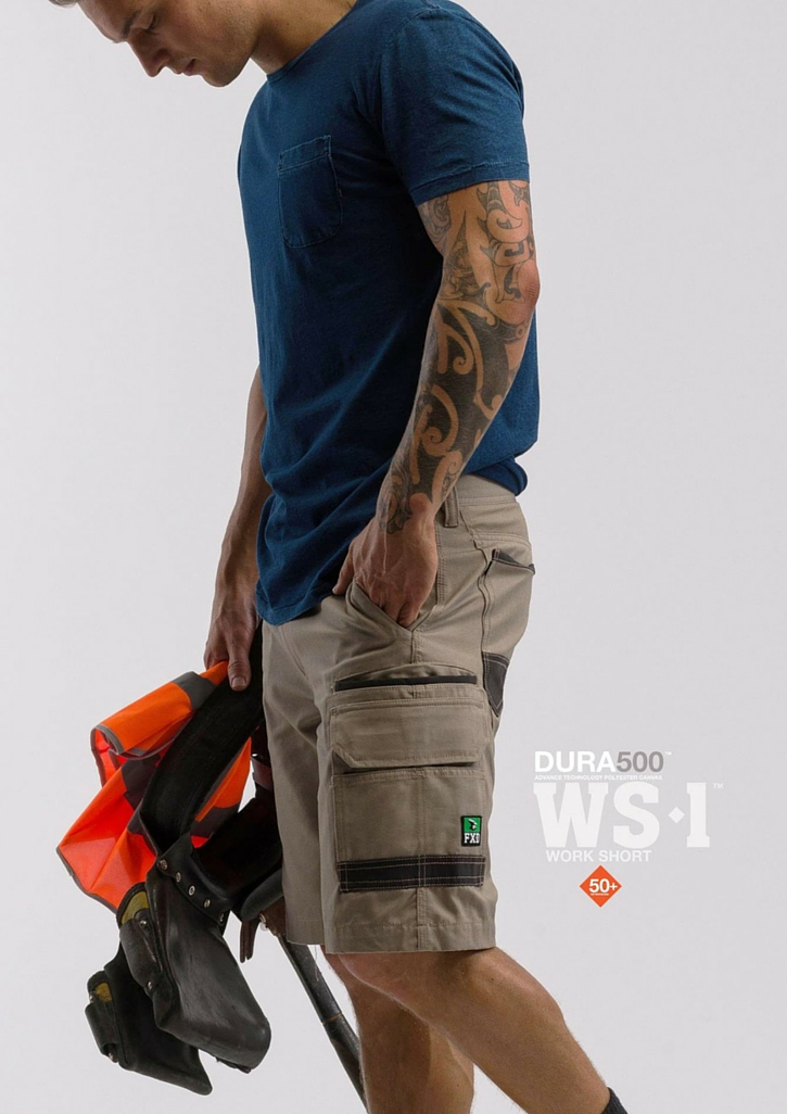 FXD WS-1 Work Short   Features:  - FX01136003 - Regular Fit - Sits On The Waist & Above The Knee - 8.2oz / 280gsm Pre-Shrunk 100% Cotton - DURA500 Reinforced Pockets - Stretch Back Yoke - Double Layer Internal Pocket Bags - Multiple Utility Pockets - YKK Nylon Zip Fly - Stress Points Bar-Tacks - Triple Needle Stitching - Certified 50+ UVA & UVB Protection