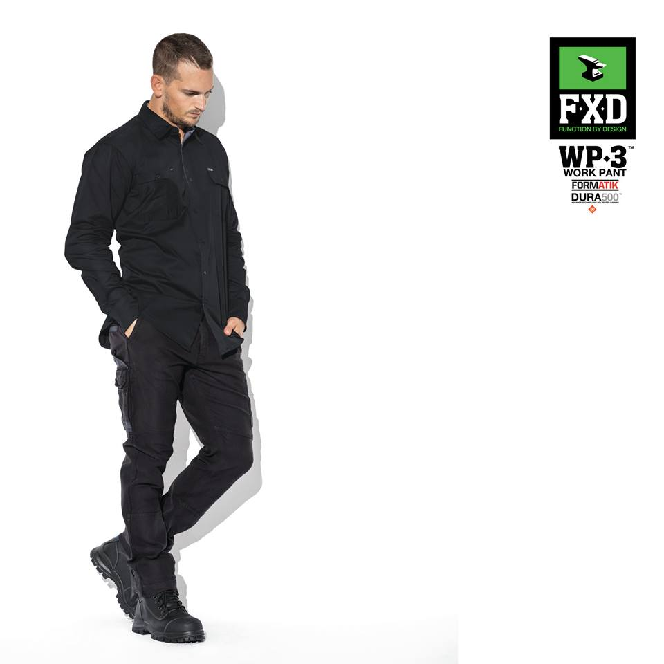 FXD WP-3 360 Degree Stretch Work Pant   Features:  - 360 DEGREE STRETCH WORK PANT - HEAVY DUTY FORMATIK™ MULTI-DIRECTIONAL STRETCH COTTON - DURA500™ ABRASION PANELS - TRIPLE NEEDLE SEAMS