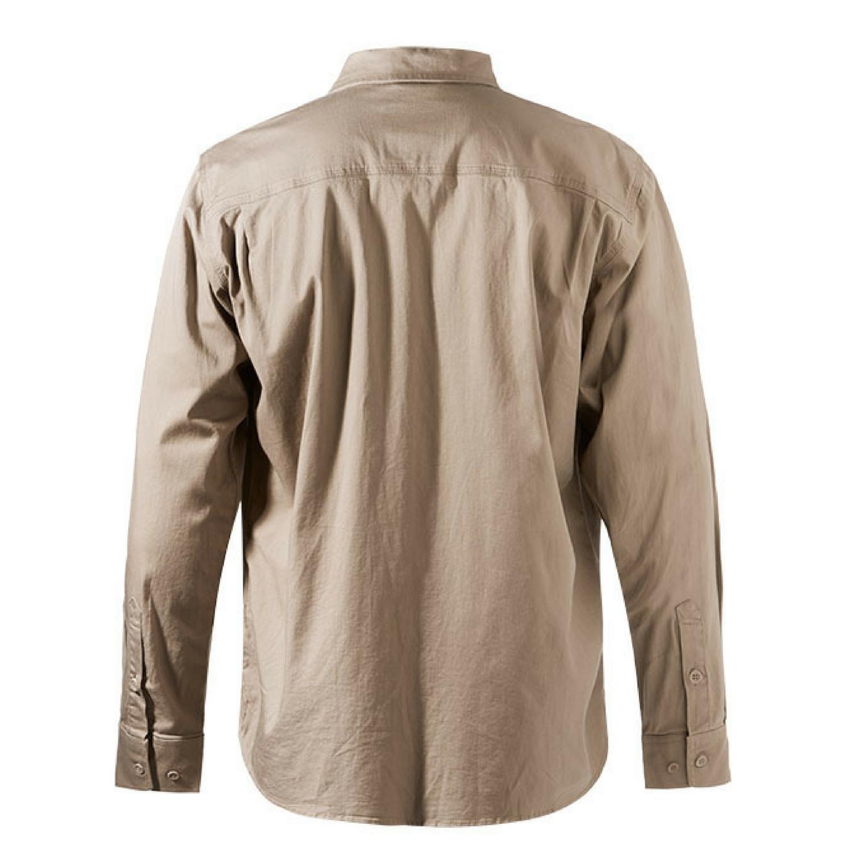FXD Workwear LSH-1 long sleeve 360 stretch work shirt khaki back