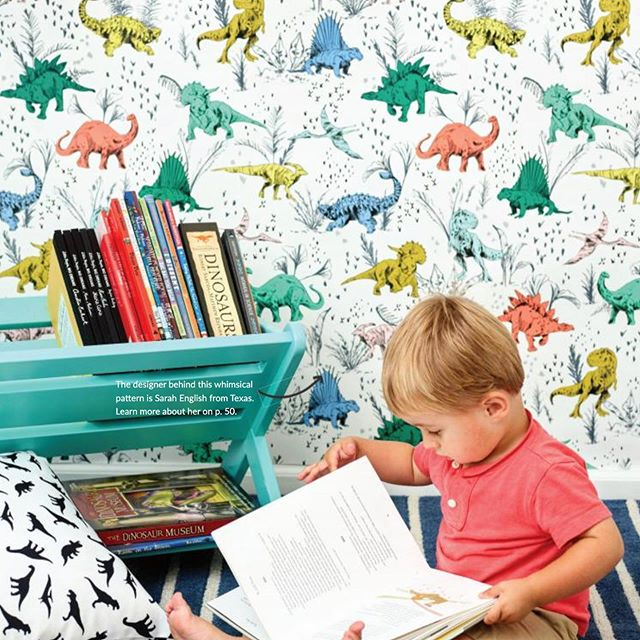 """""""Inspiring Wallpaper for Curious Minds"""" — My greatest hope with everything I create! In love with how @spoonflower used my """"Dino Pop"""" pattern as wallpaper in this room. Check it out pg.55 of the latest Spoonflower Mag."""