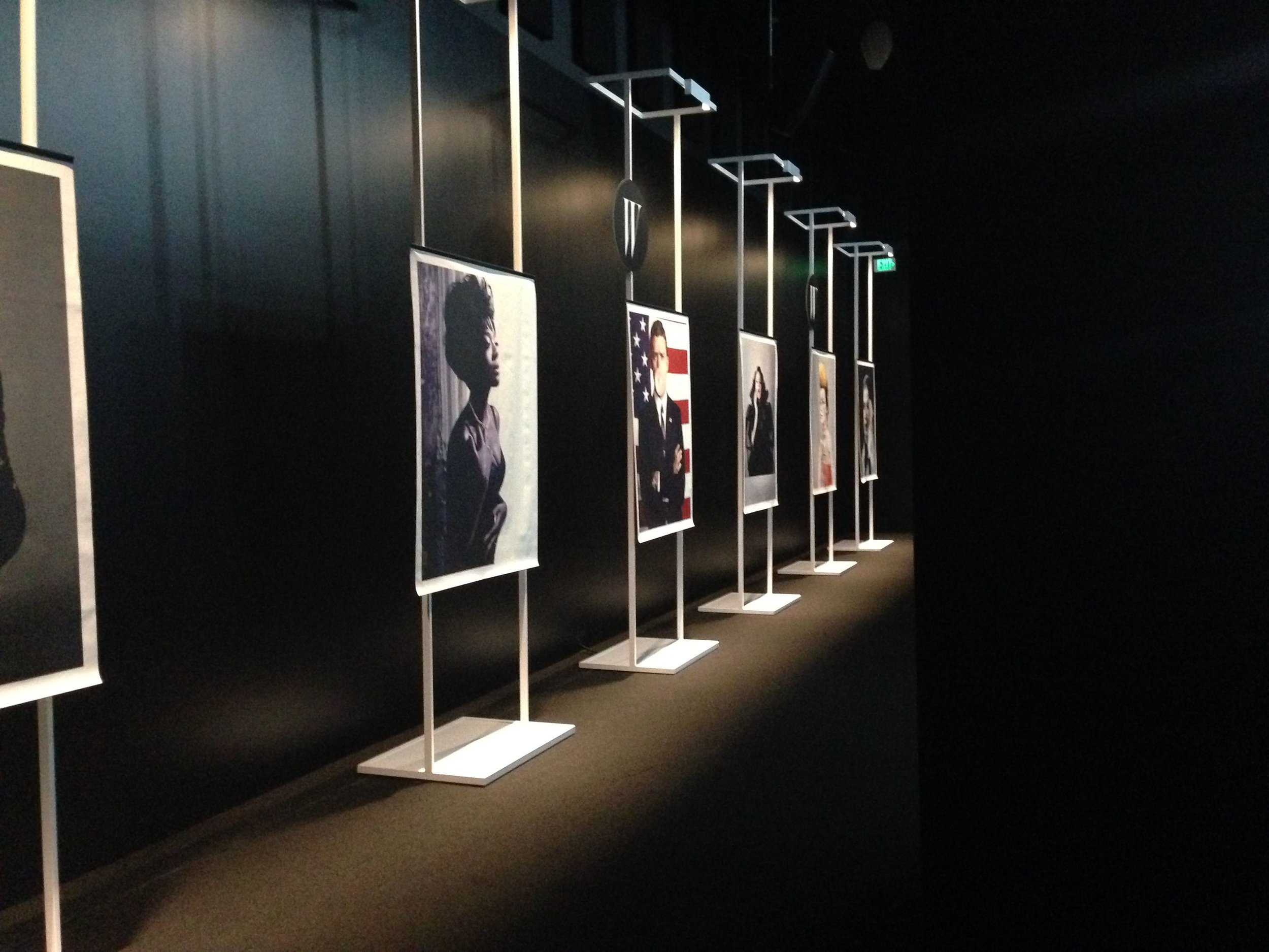 """W Magazine """"Shooting Stars"""" Installation at the LACMA museum featuring the work of photographers Steven Klein, Juergen Teller, Tim Walker and Mario Sorrenti."""