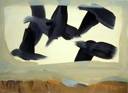 Spring Fields -- a painting of blackbirds flying by Thomas Joseph. Oil on paper.