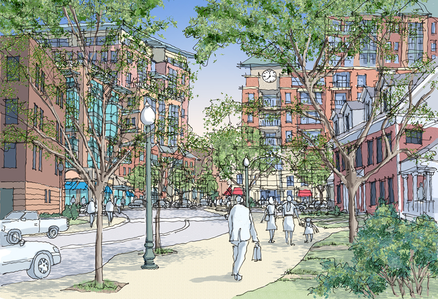 Artist's Rendering of the Plan to redevelop the public housing in Norfolk's St. Paul's area into a mixed-use development.