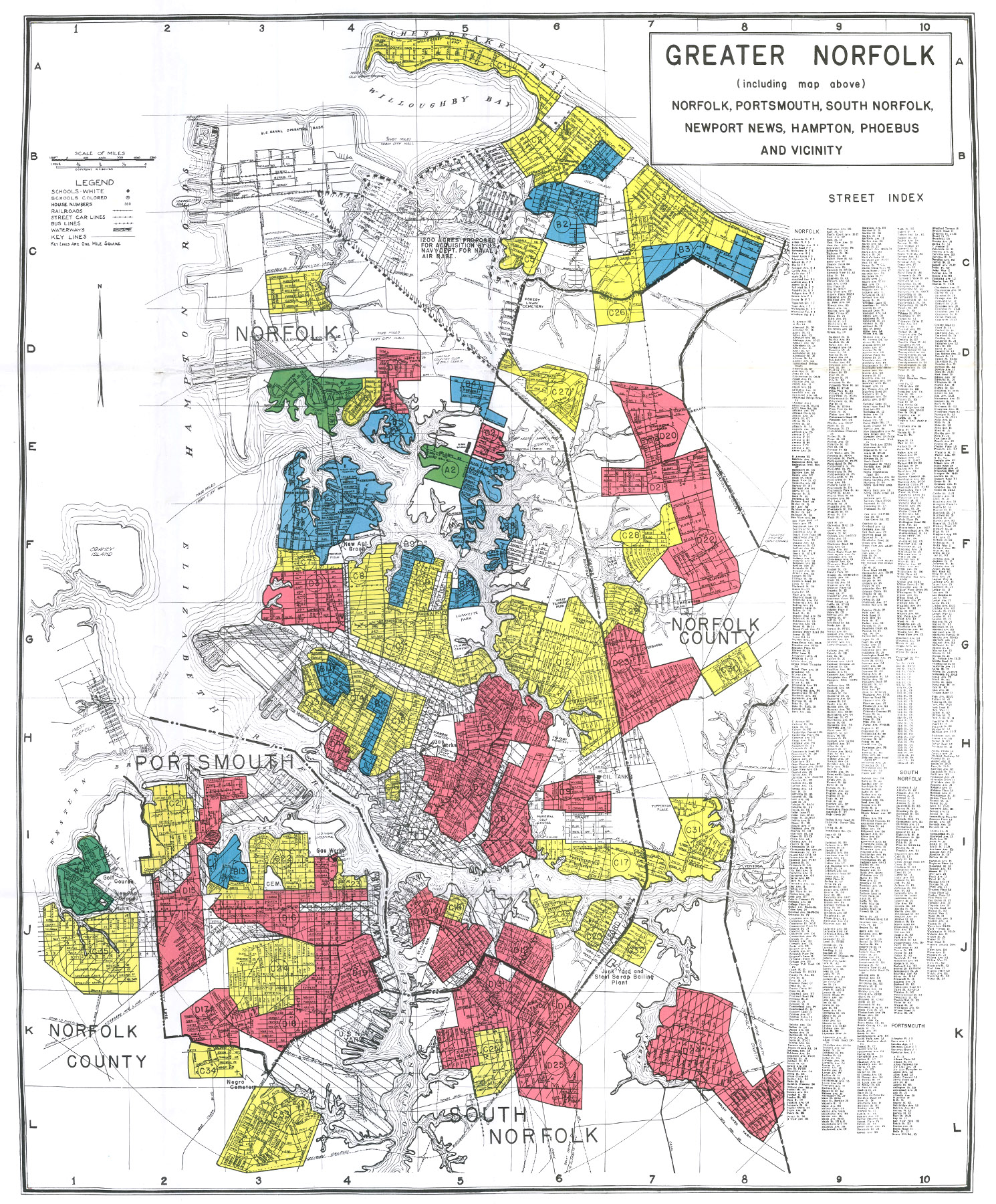 "Hampton Roads Redlining Map via the Home Owners' Loan Corporation (HOLC). A = ""Best""; B = ""Still Desirable""; C = ""Definitely Declining""; D = ""Hazardous'"".  (Photo: University of Richmond)."