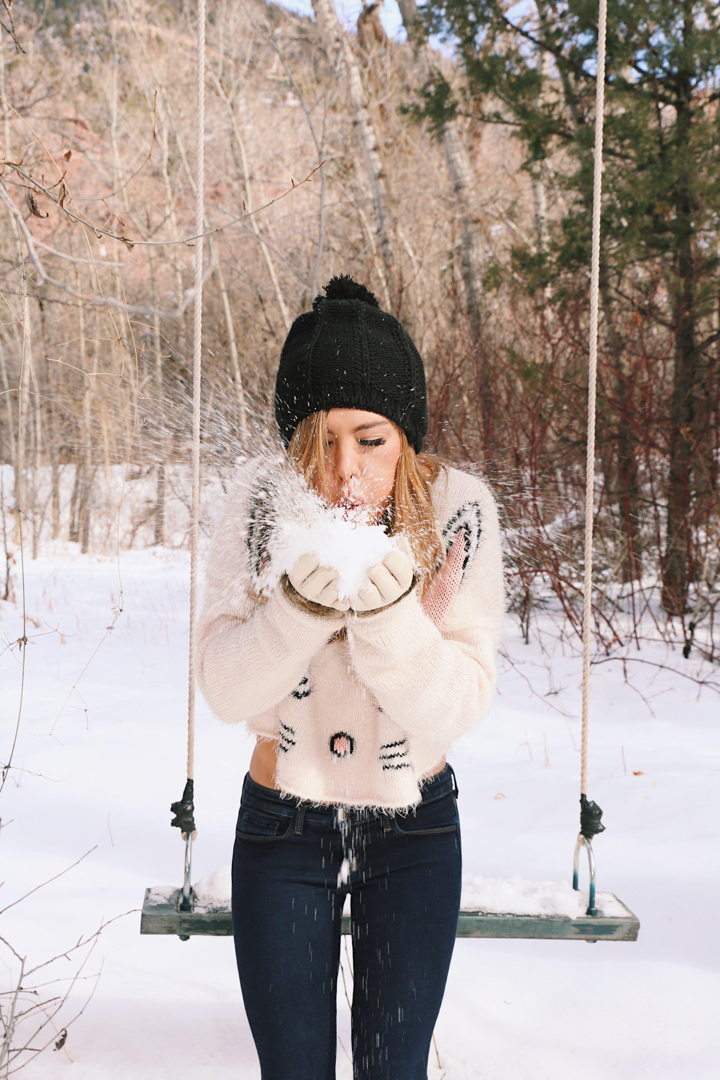Kelley Ann Fertitta blowing snow