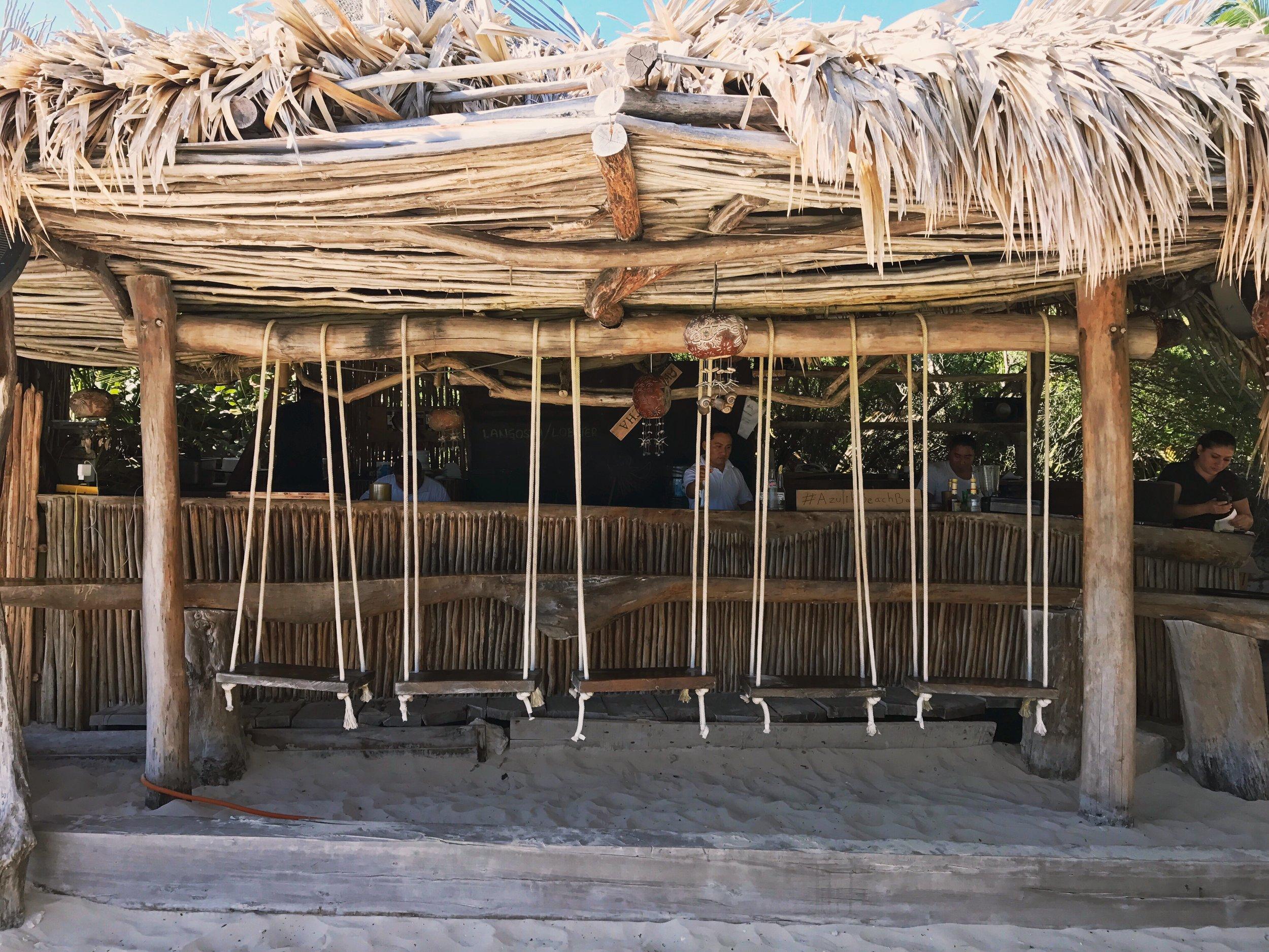 Beach bar in Tulum