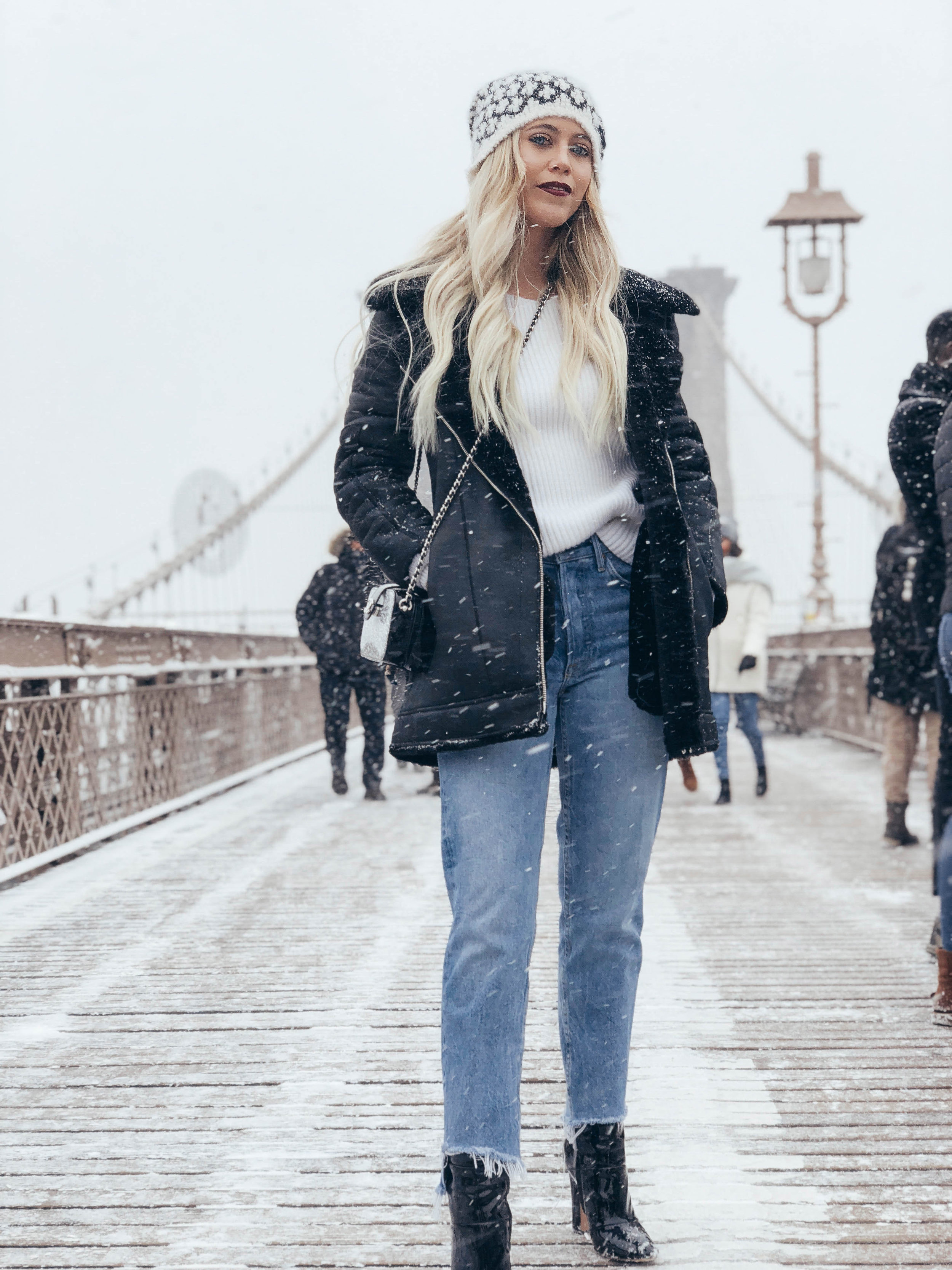 Grlfrnd jeans and L'agence coat topped with Chanel beanie