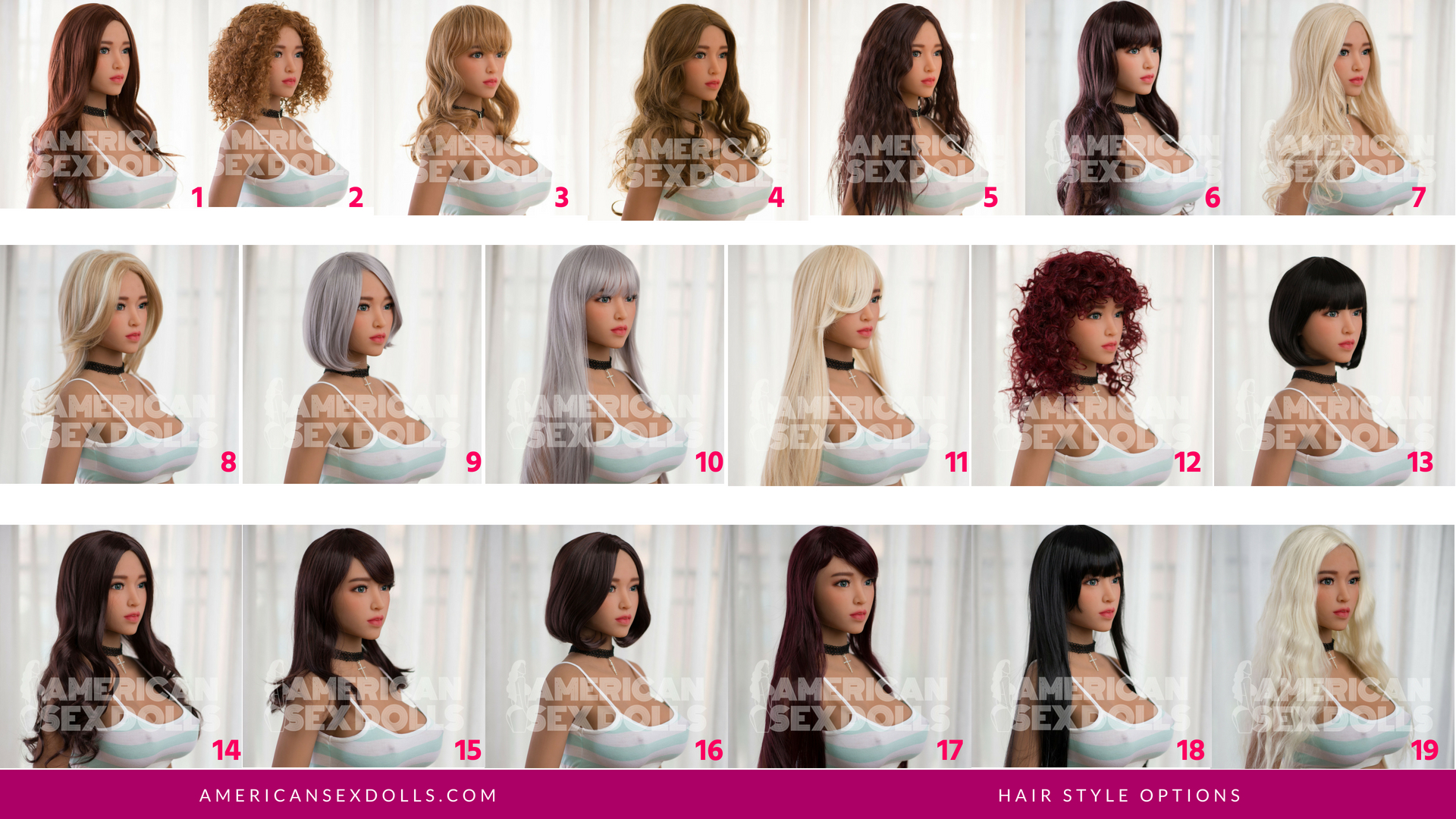 You can select your sex doll hair style after you add product to cart