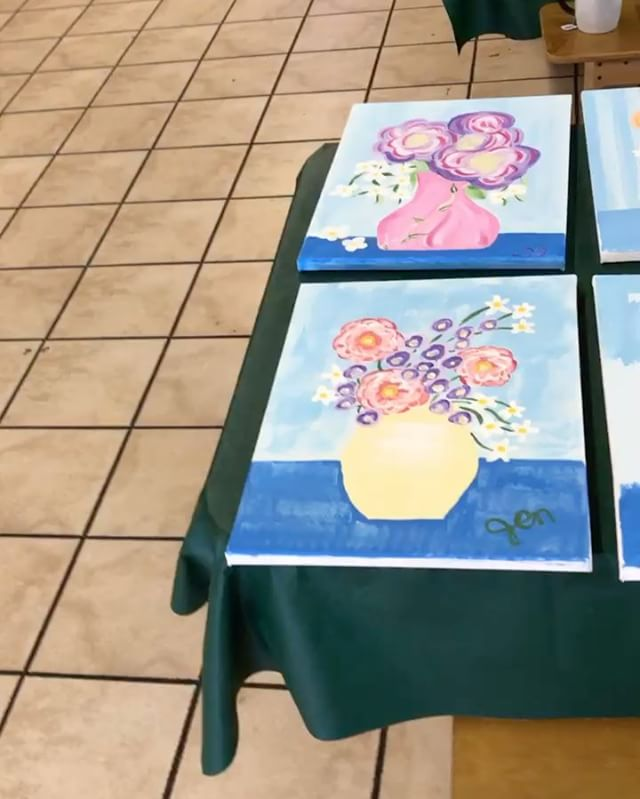 I had a lot of fun running the painting class at our ladies church retreat. I think I'll do these more often. #paintingclass #churchretreat