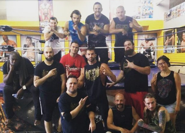A bad quality Instagram pic of  Robbie E  with the wrestlers of the  ALE .