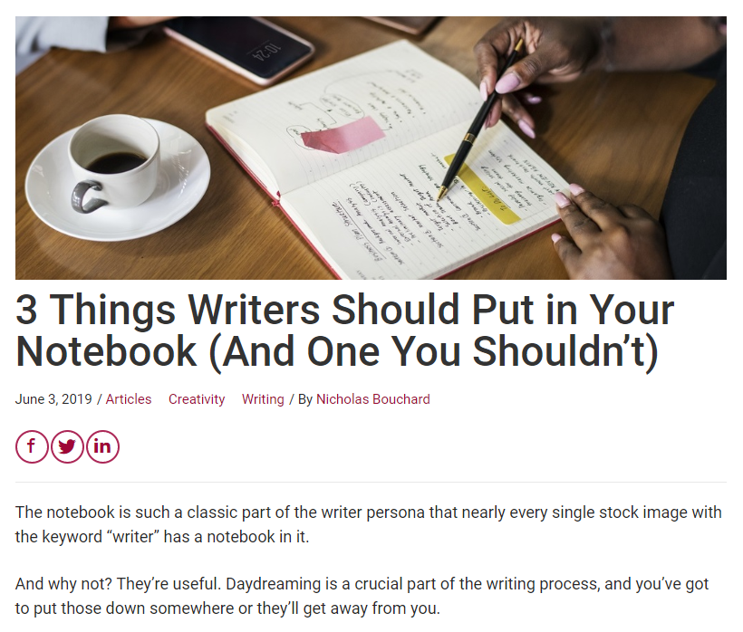 A piece about notebooks and the things that go in them, written for Craft Your Content.
