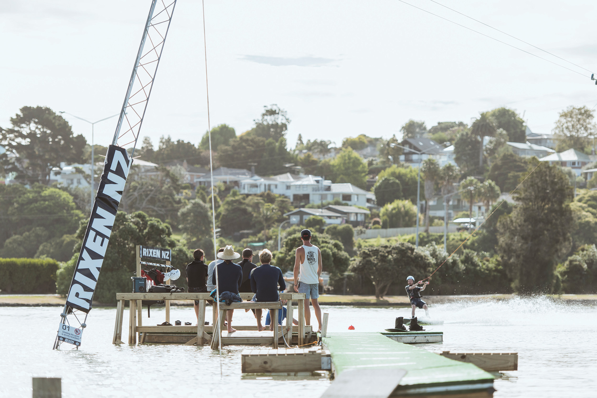 AUCKLAND'S FIRST AND ONLY  WAKEBOARDING CABLE PARK  – ONEHUNGA BAY RESERVE.