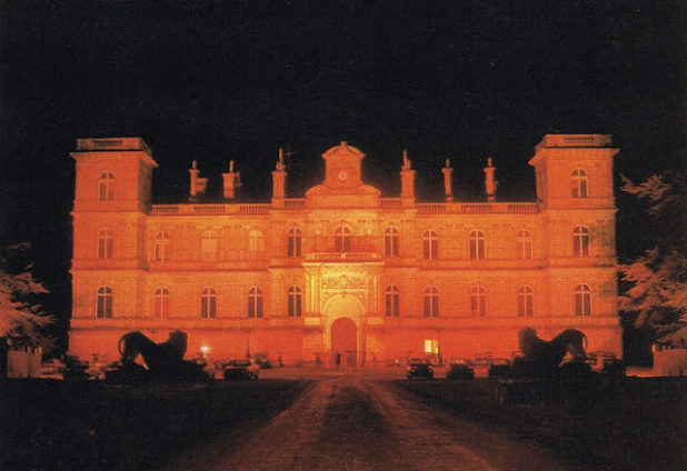 The Château de Ferrières was lit in red to make it appear as if it was on fire.