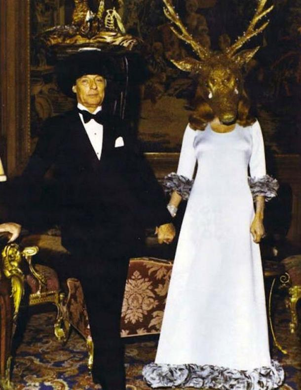"The hosts of the ball: Guy de Rothschild & Marie-Hélène de Rothschild wearing a horned ""giant's head"" with tears made from real diamonds."