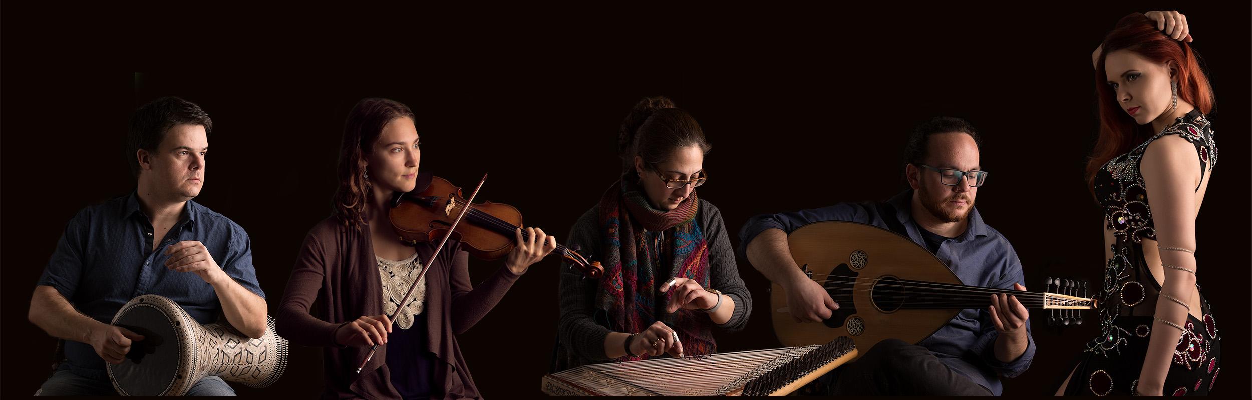 The Blue Dot Ensemble: Pedro Bonatto (percussion), Georgia Hathaway (violin), Sanaz Nakhjavani (kanun), Demetrios Petsalakis (oud) and Iana Komarnytska (dance).
