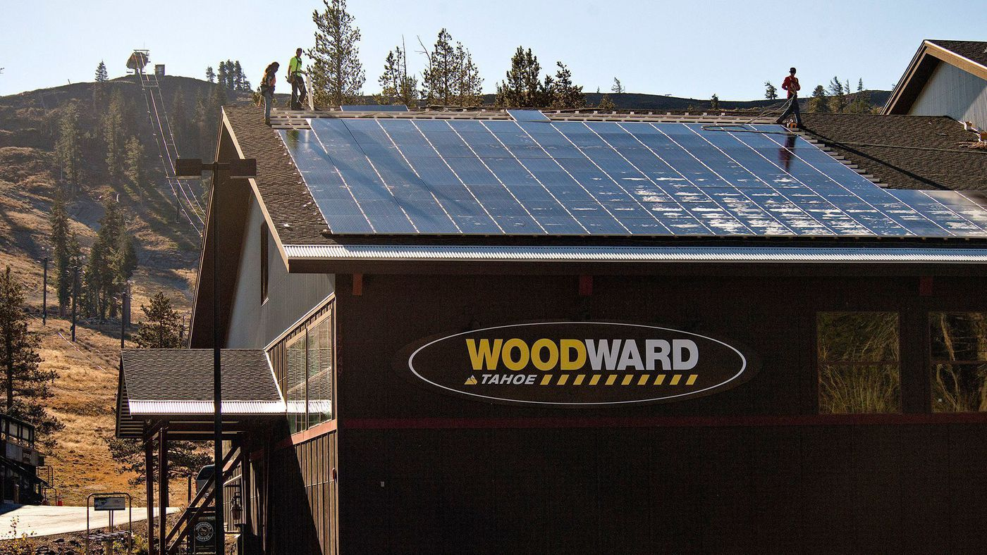 In 2017, Boreal Mountain California installed 715 solar panels on the roof of the Woodward Tahoe action sports facility, resulting in a 235 kilowatt-hour solar photovoltaic system that will produce 325,000 kilowatt-hours annually. (Powdr Corp.)