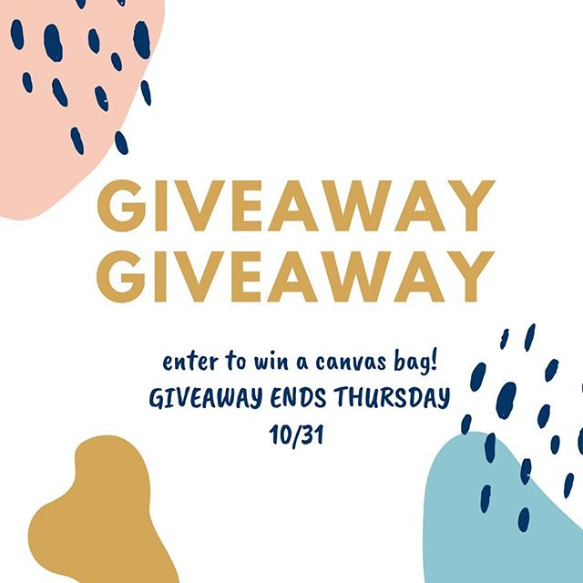 GIVEAWAY 🥳 ENTER TO WIN A CANVAS BAG • TO ENTER: • Tag 3 friends • Repost to your story • Like this photo  Giveaway ends on Thursday 10/31. Winner announced Friday. Good luck!
