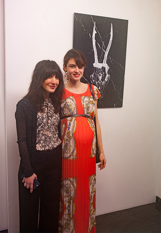 The artist Julia A. Etedi and Nadège Buffe at the opening of her exhibition on the 8th of March at the Gallery Taglialatella.