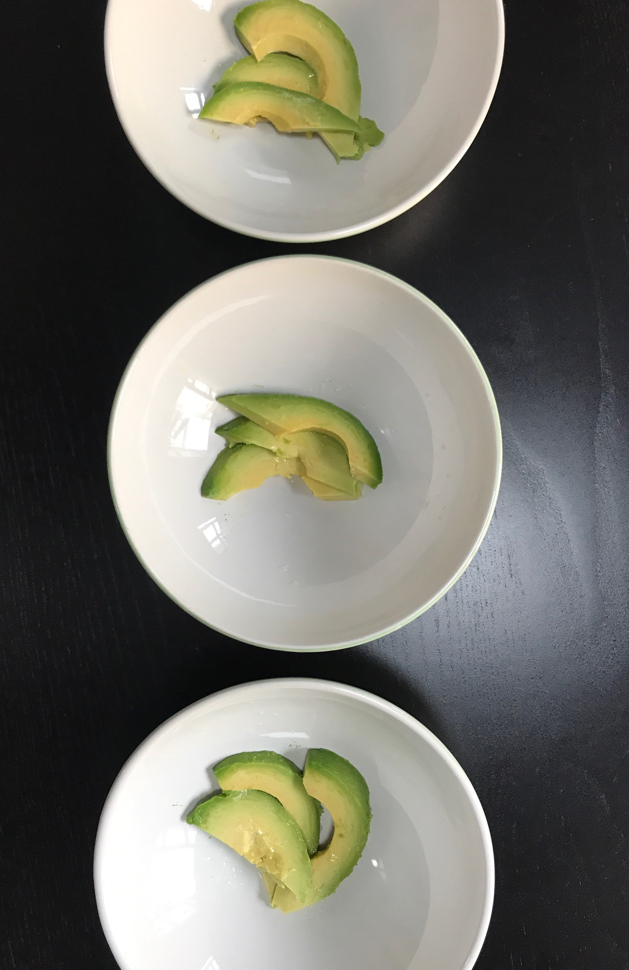Place avocados in bowls before ladling in the chilled gazpacho