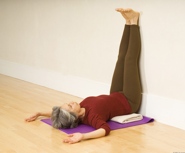 Yoga legs up the wall pose
