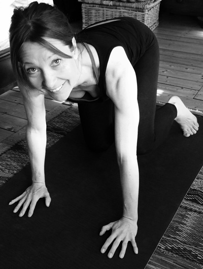 Kate Fox Scaravelli Yoga Teacher on her Mat.