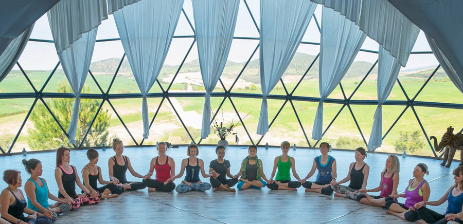 Yoga class in the OM dome in Spain