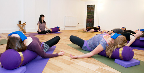 Yoga for Relaxation and Stress Relief workshop at the Bristol Yoga Centre taught by Naomi Hayama the owner of the yoga and Pilates studio in the heart of Bristol