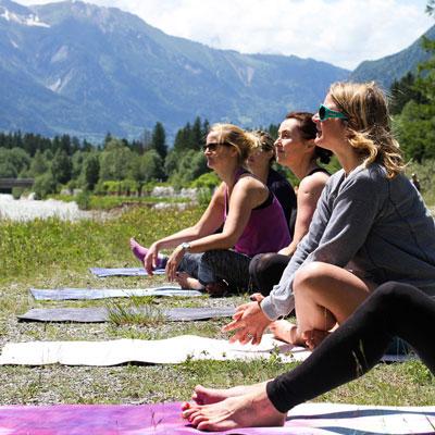 Yoga class outside in Chamonix France