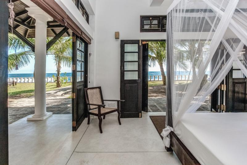Bedroom with sea view at the Yoga holiday in Sri Lanka with Bristol Yoga Centre