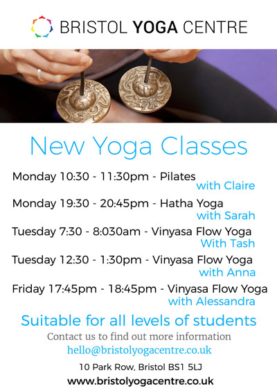 New yoga classes, workshops, courses and retreats at the Bristol Yoga Centre