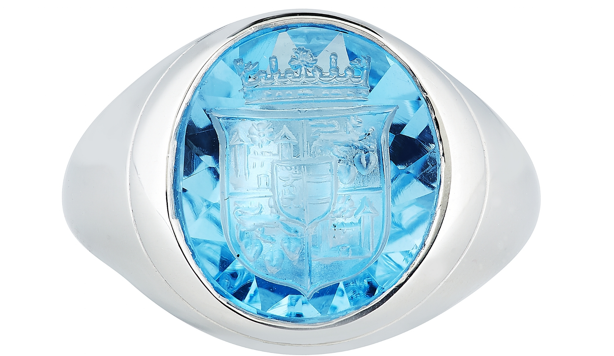 A platinum signet ring with the hand-engraved Royal Danish Coat of Arms from £9,750