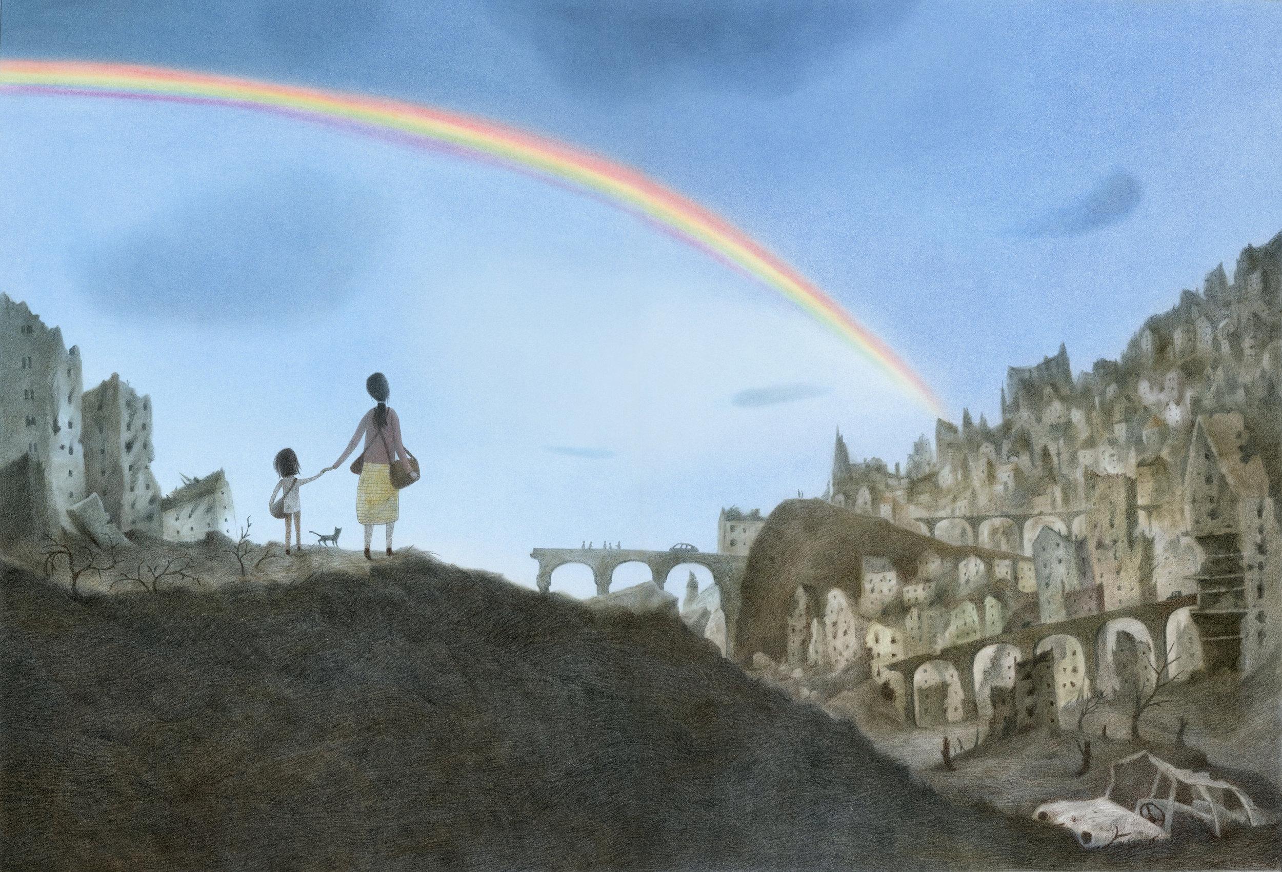 «Da ser jeg regnbuen. Jeg sier alle fargene inni meg. Rød, oransje, gul, grønn, blå, indigo og fiolett. Jeg husker alt fuglen sa. Jeg vet at vi kan klare det.»