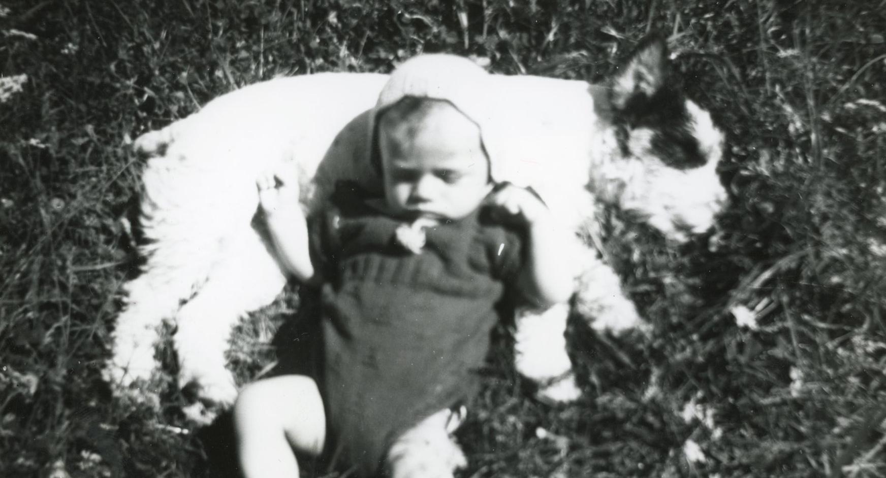 Margits eldste barn Henrik og hunden Terry tar seg en blund i gresset sommeren 1946.