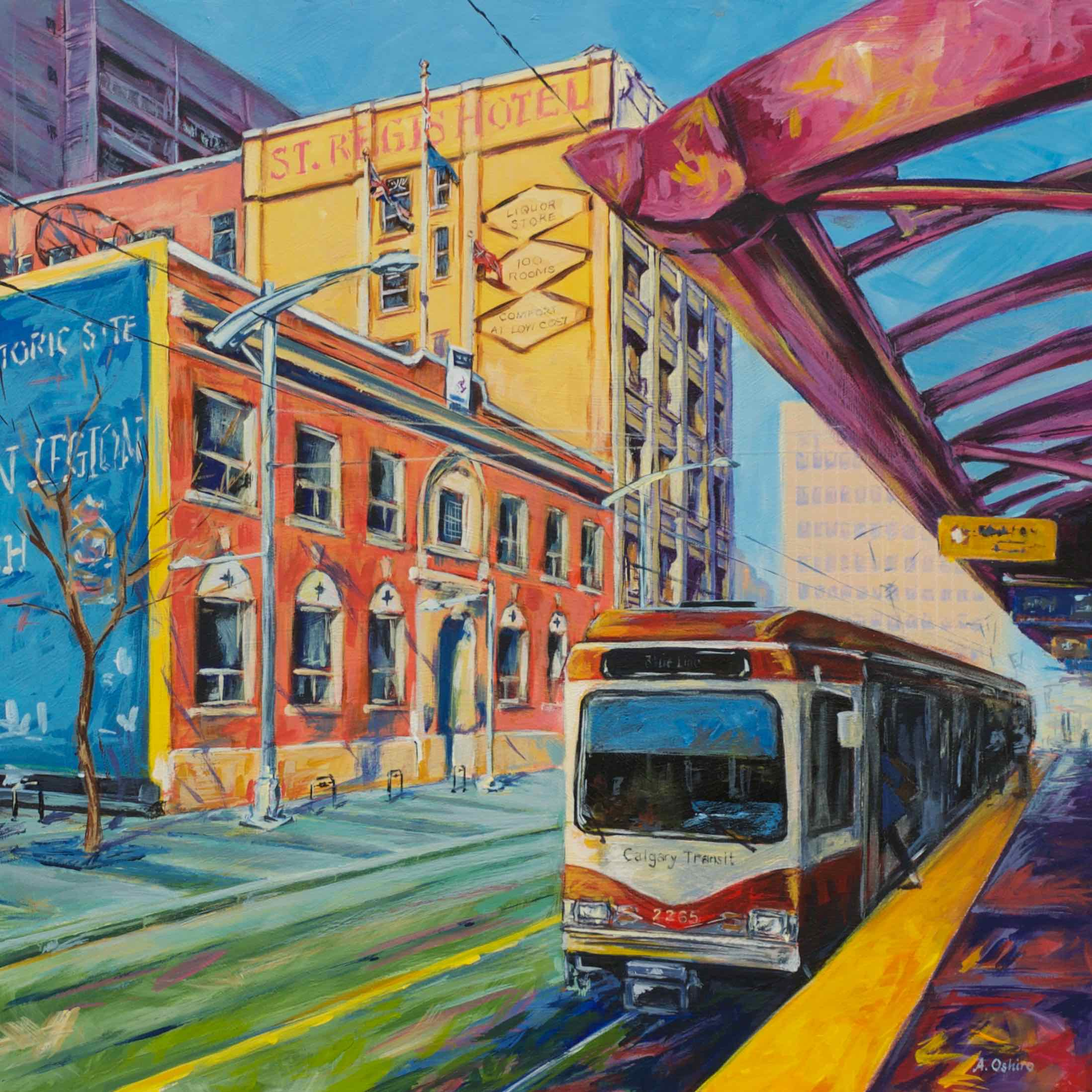 """- No. 1 – '7th Ave. and Centre St.'20x20"""" Acrylic on Cradled Birch PanelThe reference photograph for this piece was taken on the Centre Street CTrain platform overlooking the historic St. Regis Hotel which was built in 1912 and hosted a bar frequented by former Calgary Mayor and Alberta Premier Ralph Klein. West of the hotel is the Royal Canadian Legion Calgary (Alberta No. 1) Branch which opened in 1922 and commemorates the sacrifices made by Canadian servicemen during WWI. Calgary's Light Rail Transit (LRT) System """"CTrain"""" began operation in 1981 under the care of then Mayor Klein. This piece showcases a Siemens SD-160 unit."""