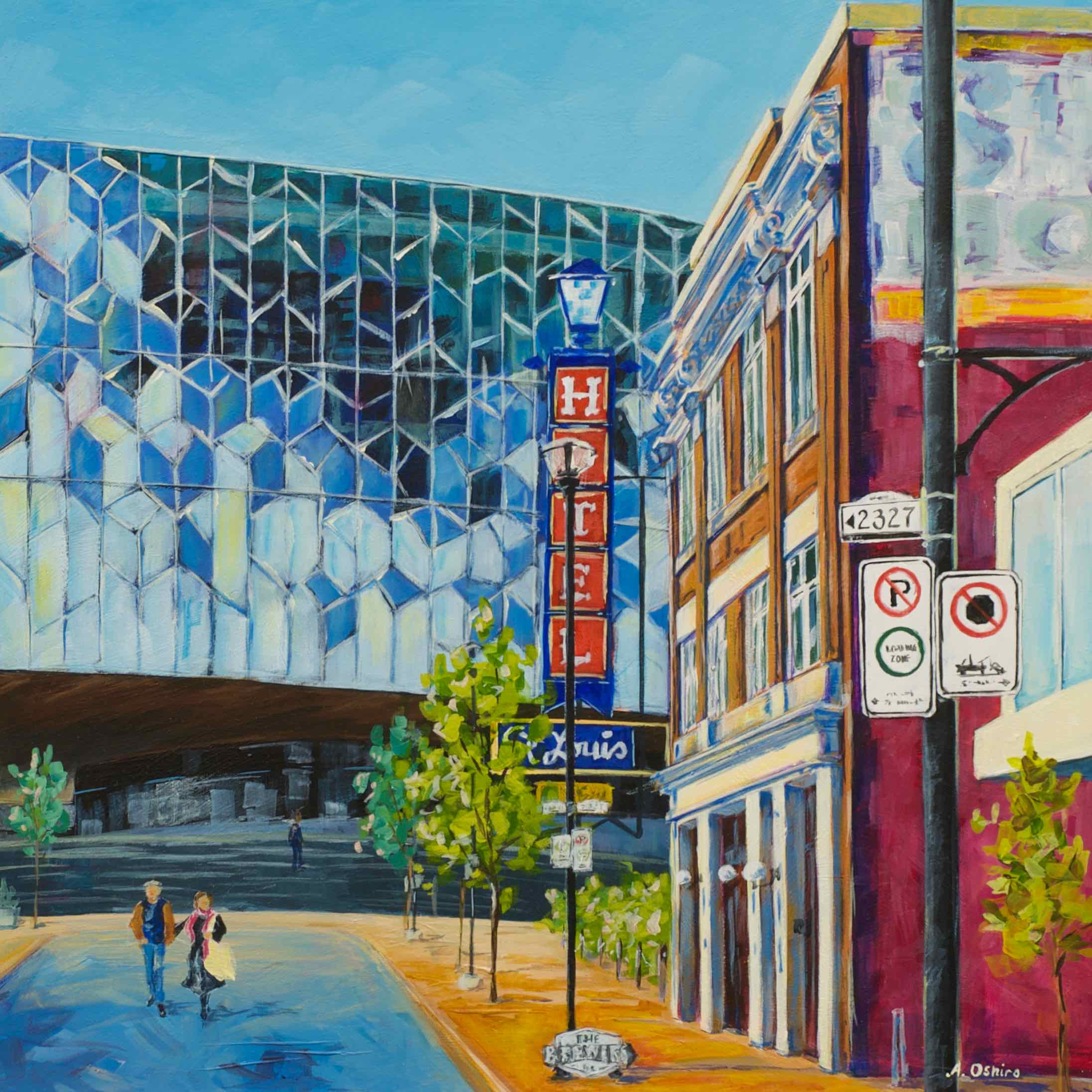 """- No. 3 – '8th Ave. and 4th St. SE'20x20"""" Acrylic on Cradled Birch PanelThis piece features both the old and new in downtown East Village. The New Central Library (NCL) first opened its doors to the public on November 1, 2018 and was designed by two architectural firms: Snøhetta and DIALOG at a cost of $245,000,000. At the time of this painting, the Calgary Public Library was holding a campaign for people to """"purchase"""" windows to add personal inscriptions ranging from $100 to $5,000. East of the library is the St. Louis Hotel (1914) which was known for its imaginary """"Indoor Horse Races"""". The hotel was purchased and restored by the Calgary Municipal Land Corporation (CMLC) and currently serves as the CMLC's head office."""