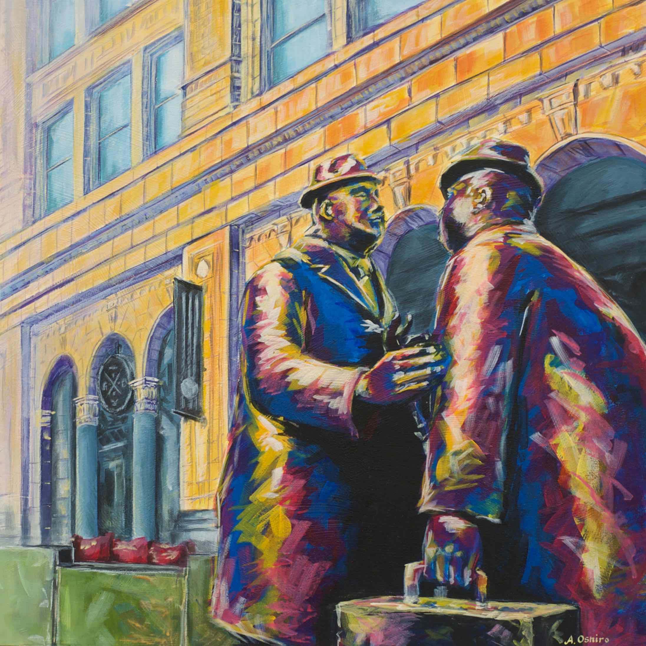 """- No. 4 – '8th Ave. and 1st St. SW - The Conversation'20x20"""" Acrylic on Cradled Birch PanelA well-known public art piece in Calgary is """"The Conversation"""" by Ontario sculptor William McElcheran (1927-1999). The Conversation is one of McElcheran's many bronze sculptures throughout Canada featuring his iconic """"Businessman"""" character. These statues were donated to the City of Calgary by Norcen Energy Resources and were installed on Stephen Avenue in 1981."""