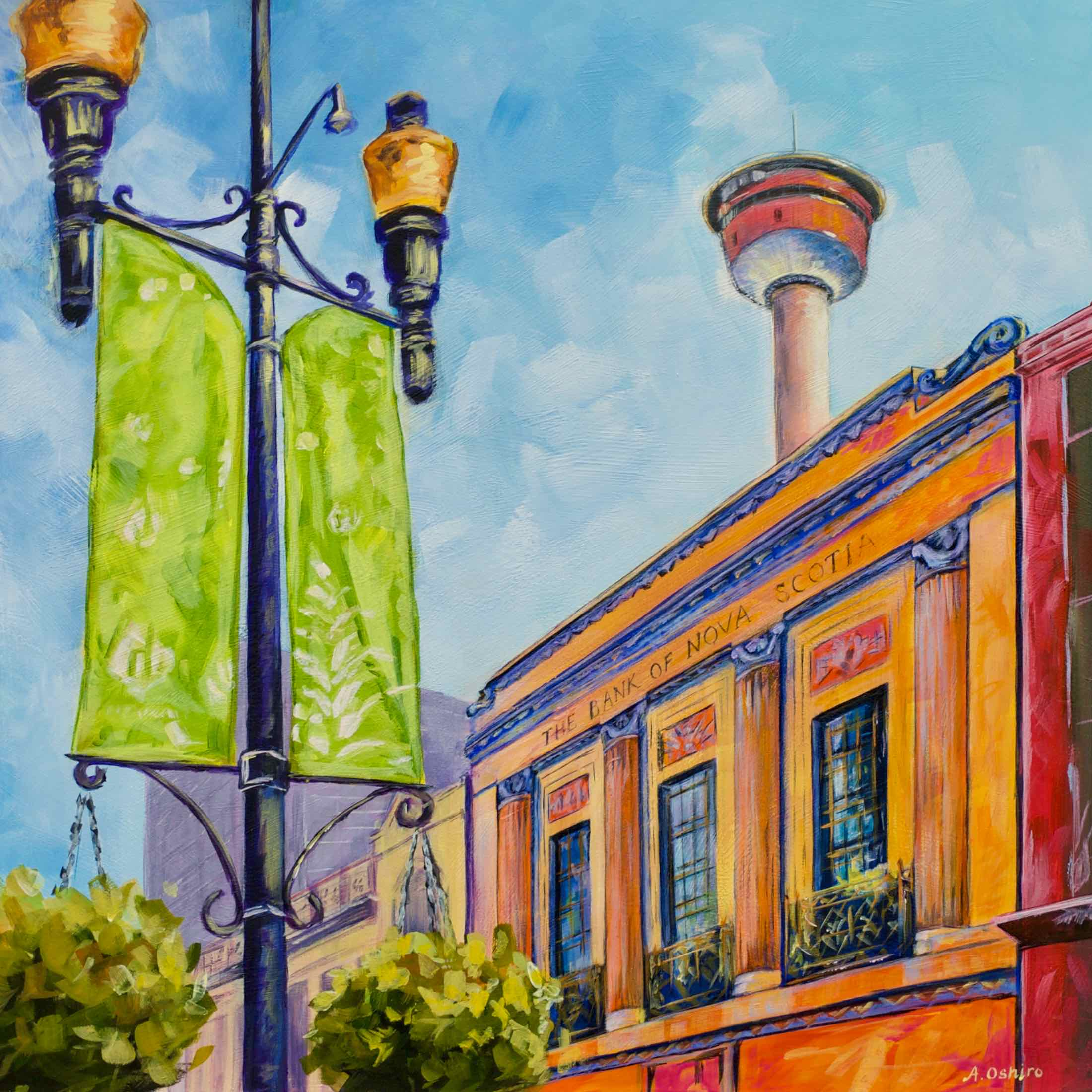 """- No. 5 - '8th Ave. and 1st St. SW – Scotia Bank'20x20"""" Acrylic on Cradled Birch PanelThe Bank of Nova Scotia on Stephen Avenue was constructed in 1930 and operated as a bank until 1976. It is now the home of The Bank & Baron P.U.B. In the distance is one of Calgary's most well known landmarks, the Calgary Tower. This 190.8 meter tall observation tower was open to the public in 1968."""
