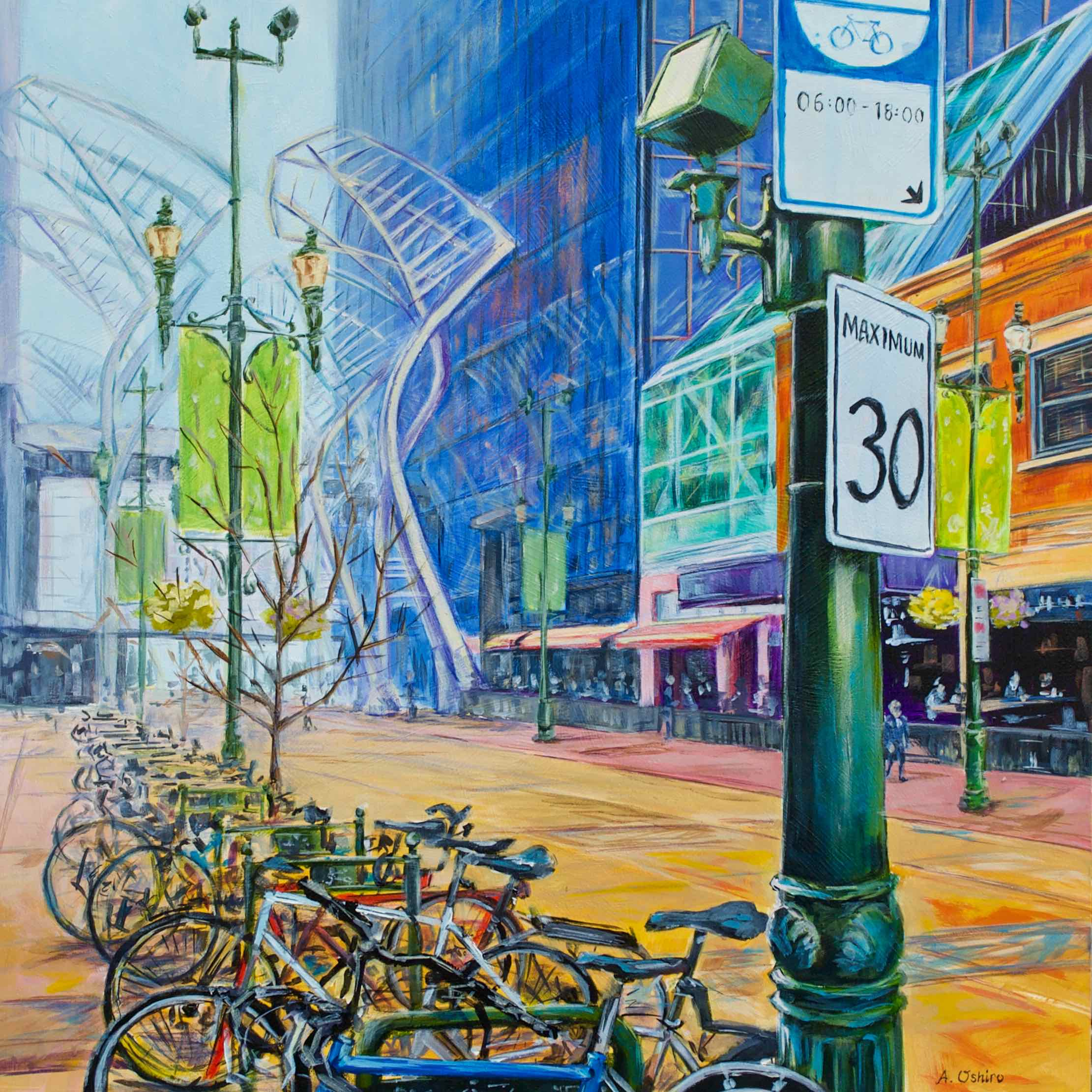 """- No. 6 – '8th Ave. and 2nd St. SW'20x20"""" Acrylic on Cradled Birch PanelStephen Avenue was named after Sir George Stephen who was the first president of the Canadian Pacific Railway. The street itself was named a Canadian historic site in 2002. The blue glass building is the CORE Shopping Centre, the hub of Calgary's Plus 15 skywalk system."""