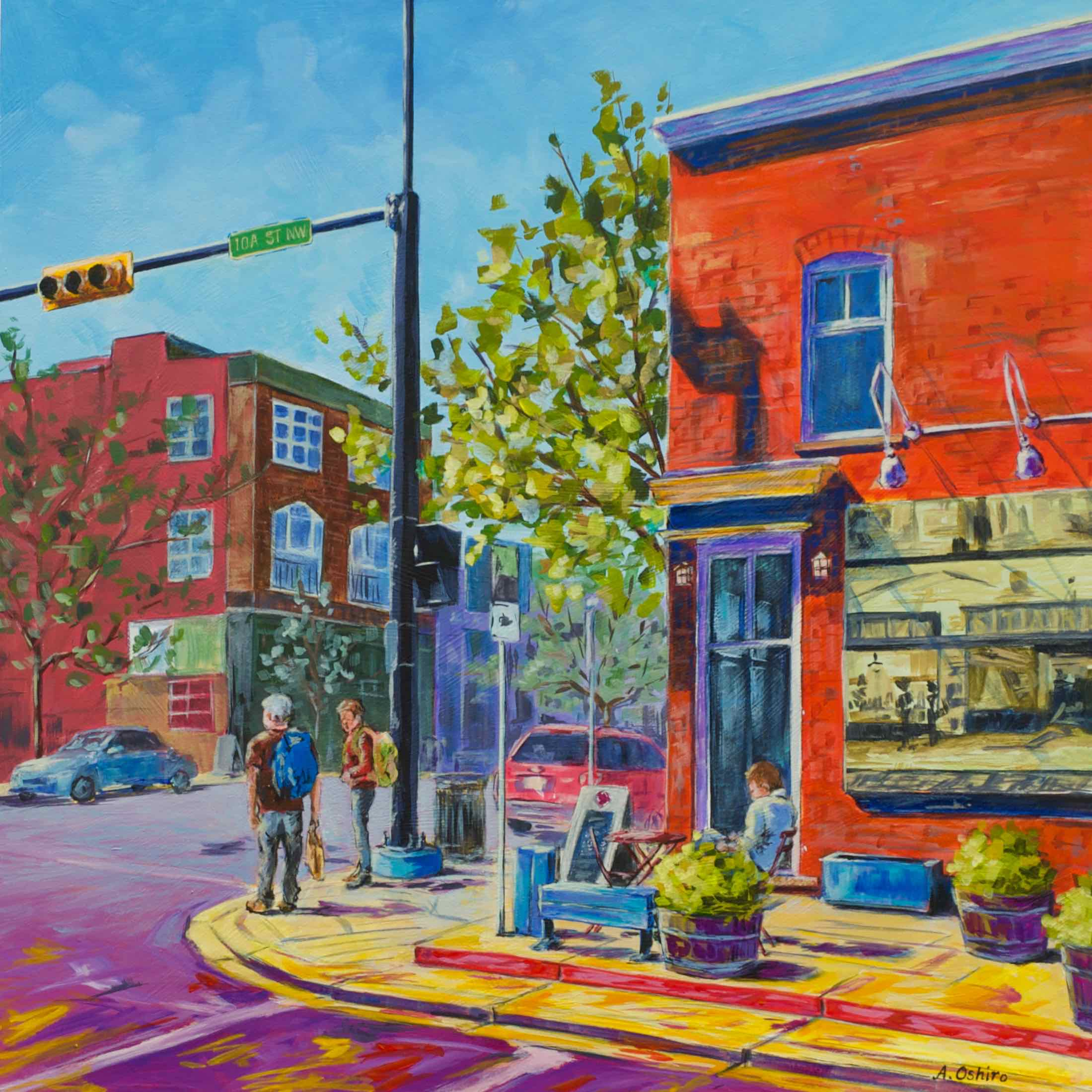 """- No. 7 – '10A St. and Kensington Rd. NW'20x20"""" Acrylic on Cradled Birch PanelMany Calgarians enjoy coffee at the Starbucks Building in Kensington, Calgary. This historic brick commercial building was built in 1911 and once housed an ice cream parlor."""